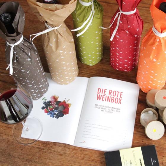"""Die rote Weinbox für zu Hause - ein spielerisches Weintraining mit Quiz von """"einfach geniessen"""""""